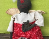 Primitive Doll , Handmade doll , Cloth Doll , Angel Doll , Fabric Doll , Cat Doll , Red Doll , Handmade Cloth Doll , Farmhouse Decoration