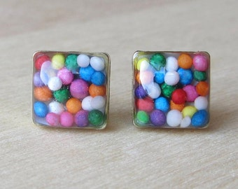 Square Real Candy Sprinkles 8 mm studs, Rainbow Raw Brass Resin Studs, Hypoallergenic Titanium posts, Minimalist modern, fun food earrings