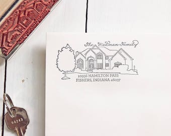 Custom House Address Stamp - Personalized Housewarming Gift - Rubber Return Address Stamp - Realtor Gift - Custom Home Stamp