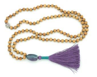 Sandalwood & Rainbow Fluroite Mala, 6mm, 108 beads