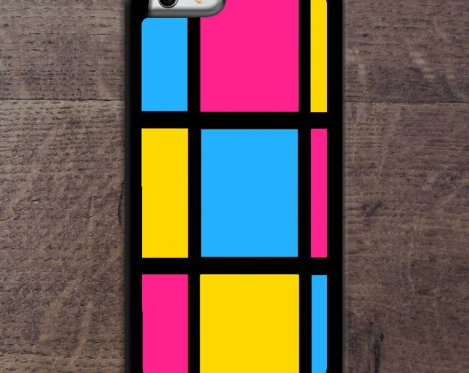 Pansexual flag colors Mondrain inspired phone case
