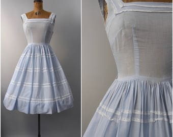 1950's Jerry Gilden pale blue cotton sun dress • medium