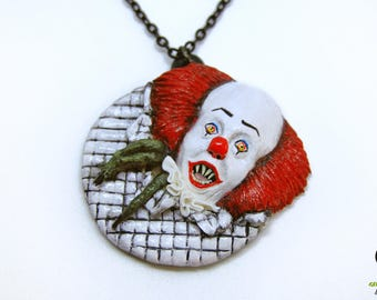 IT necklace | Pennywise necklace | Pennywise inspired necklace | Stephen King | IT inspired | Polymer clay IT | Polymer clay Pennywise