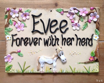 Pet Memorial Plaque for Horses and Donkeys - Ceramic Stoneware Sign Custom made and personalised