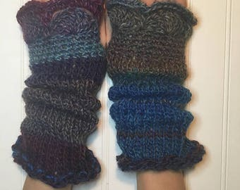 Beautiful Hand-Knit Fingerless Gloves Cuffs Arm Warmers - Multi Color