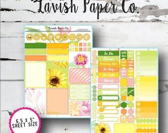 Sunshowers August Kit Planner Stickers by Lavish Paper Co. | Rainbow | for Erin Condren, inkWELL Press, Plum Paper Planner, Happy Planner