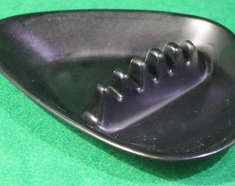 Vintage Anholt Ashtray - Mid century Modern - Boomerang Atomic  Black  Plastic Ashtray - Tobacciana