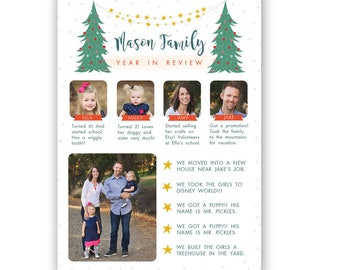 Year in Review Card Template, Christmas card template,  Holiday card template