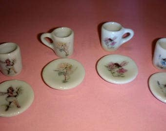 Dolls house miniature Flower Fairies 4 ceramic mugs and saucers set