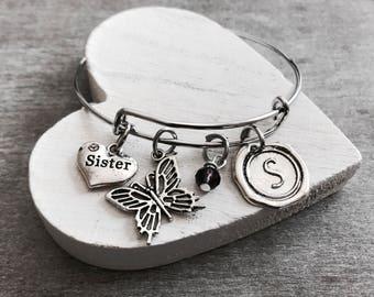 SISTER, Sister Gift, Gift for Sister, Butterfly, Sister Jewelry, Sister Bangle, Silver Jewelry, Silver Bracelet, Charm Bracelet, Gifts