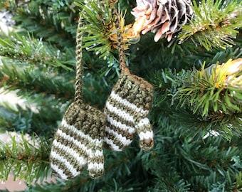 Hand-knit Miniature Mitten Set Christmas Ornament: olive green & White