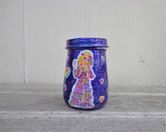 Glittery Lisa Frank Hippie Girl Purple Peace Sign Stickers Stash Jar One of a Kind Handpainted Upcycled Glass Nug Jug with Sparkle