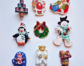 9 Festive Vintage Christmas Holiday Pins Brooch Pinback Flair Scarf Jewelry Decor Lot Collection Stocking Stuffers, Mini Gifts Destash Set