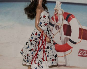Winds of Freedom - Dress, Hat & Bag. Snaps. Fits fashion dolls  like Barbie Clothes. Clothes only, Poppy Parker doll is not included