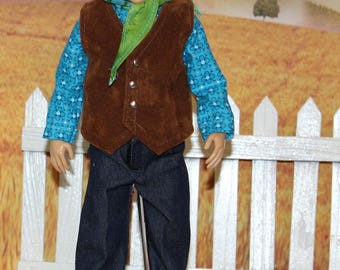 Fair Rodeo Days Western Cowboy Outfit for Boy Lammily Doll.  Western Shirt, Jeans, Neck Tie, Suede Vest, Cowboy Hat (Will not fit Ken dolls)