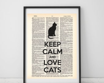 Cat Print Dictionary Art Cat Lover Wall Decor Cat Funny Quote Print Cat Print On Book Page Cat Lovers Gift Vintage Book Dictionary Page Art
