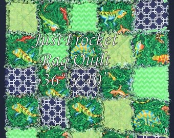 Reptile Chevron Chain Link Boy Baby Blanket Rag Quilt 36 inches x 40 inches