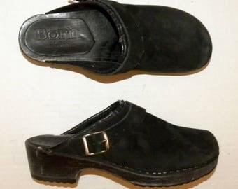 Vintage Wood & Suede Clogs / Børn Leather Platform Clog / Born Kløgs shoes made Denmark / size 39 / US 8.5 - 9