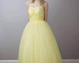 1950's strapless yellow gown with matching caplet / size small