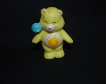 Care Bears funshine bear pvc  toy miniature figure ,  Vintage 1983 collectible figurine  , Care Bears Miniature
