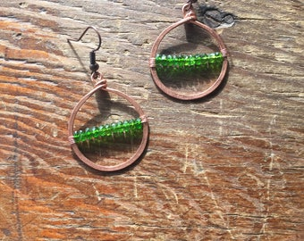Copper Hoop and Chrome Diopside Earrings