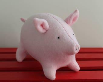 Pink Fleece Plush Pig Stuffed Toy Animal - Baby Pig Toy - Baby Shower Gift - Nursery Decor - Pig gift