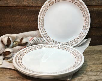 Vintage Corelle Dinner Plates/Summer Impressions/Brown/Flowers