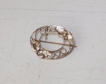 Vintage Silver Brooch, Oval Metal Shaped Leaves Ornate