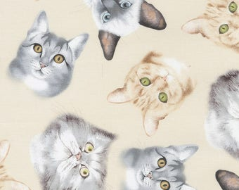 Cream Tossed Cat Faces Kittens Cotton Timeless Treasures #7013 By the Yard