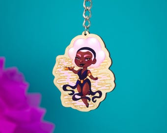 Cloud Dancer Wooden Key Charm - pink candy cotton keychain - Clouds