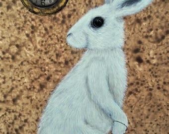 The White Rabbit and Pocket watch - Alice in Wonderland Illustration Archival Art Print