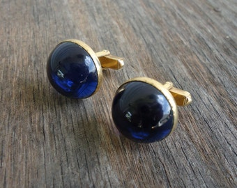 Swank Cobalt Blue Cabachon Cuff Links
