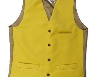 UK Made Vintage Style Moleskin Waistcoat In Golden Yellow