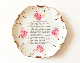Vintage white with 18K gold trim decorative plate - wall hanging  - Ten Commandments / decor made in Japan