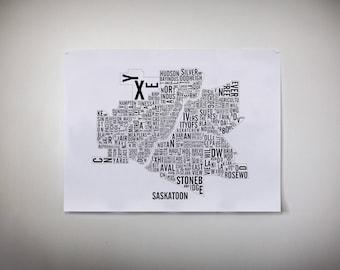 Saskatoon Saskatchewan City Map - Saskatoon Art - Saskatoon Map - Typography Poster - Saskatoon Gift