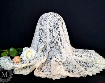 Ivory Floral Lace Mantilla / Veil / Chapel Cap / Head Covering with Wide Ivory Trim