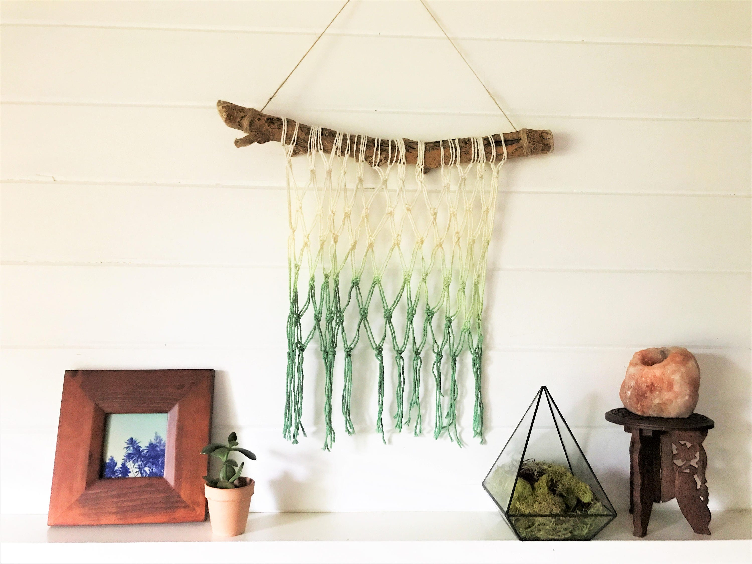 Handmade Macrame Driftwood Wall Hanging | Colorful Wall Decor | Boho Style  | Green Dip Dyed