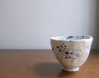 Blue and White Speckled Bowl    Small Speckled Bowl    Ceramic Bowl    Specked Pottery Bowl