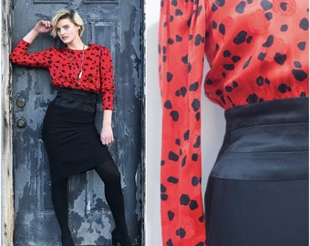 80s does 50s Red & Black Rose Dalmatian Print Cocktail Dress // Silk Satin Long Sleeve Wiggle Dress w Button Up Back sz S / 4 / 6
