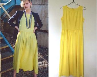 Yellow Sleeveless Maxi Dress // Semi-Sheer Tank Dress Drop-Waist Full Skirt sz S / M
