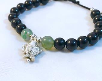 Clearance  Silver fish and Jet Mala bracelet