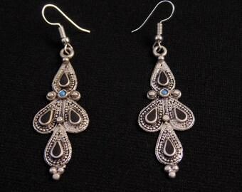 E6527- Awesome Vintage Style Kuchi Earrings - Silver Afghani Ethnic Boho Kutchi Statement Earrings