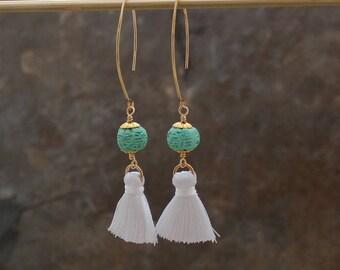 Silk Tassel Earrings - White Tassel Earrings - Tassle Earrings - Long Tassel Earrings - Cinnabar Earrings - Turquoise Tassel Earrings - Boho