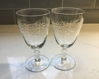 Antique Cut Crystal Cordial Glasses - set of 2