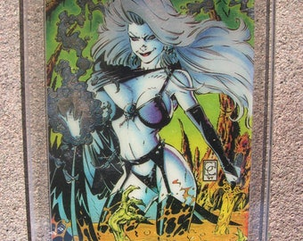 1994 Lady Death Chase Card #4 Clearchrome Holochrome card art by Greg Capullo