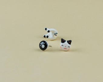Maneki Neko Cat Earrings - Lucky Cat Earrings Polymer Clay, Attract Positive things to come in Your Life | Handmade & Handpainted
