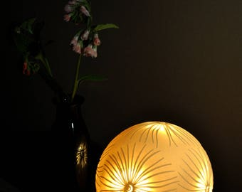 Pierced Fronds Porcelain Sphere Lamp