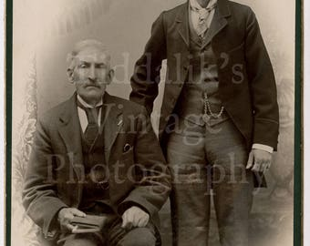 Cabinet Card Photo 2 Victorian Mustached Smart Men Father and Son (?) Portrait by Robinson of London England - Antique Photograph