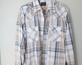 vintage 1970's western cut tan & blue plaid pearl snap button up shirt