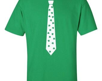 Irish Clover Tie Shirt | Clover Tie Shirt | St Patricks Day T-Shirt | Lucky Tie T-Shirt | Shamrock Tie T-Shirt